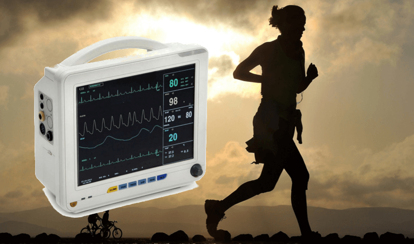 Rechts eine rennende Frau, links ein EKG Gerät mit 12 Kanälen
