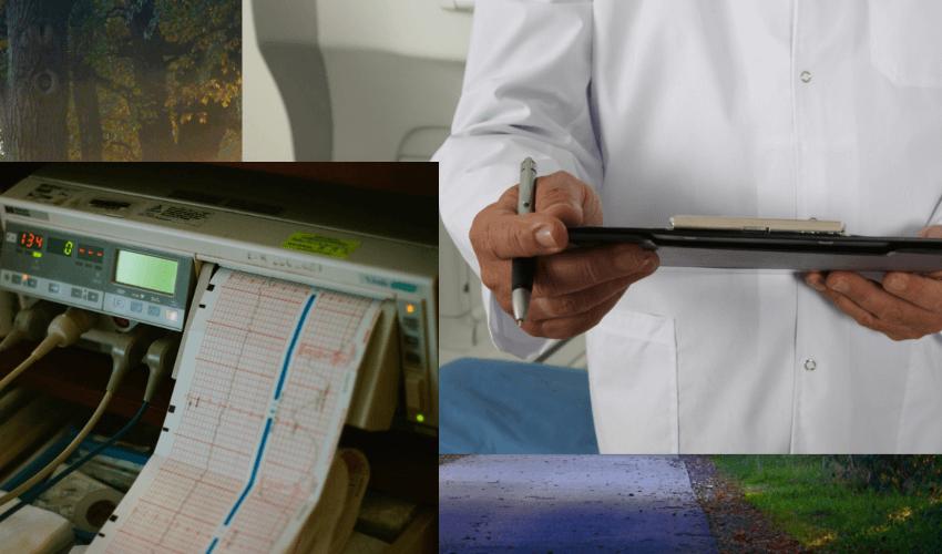 Ein EKG Gerät der Firma Hellige beim Arzt