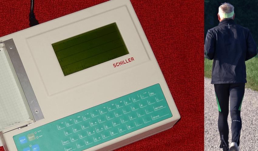 Ein EKG Gerät von Schiller, benutzt von einem älteren Mann